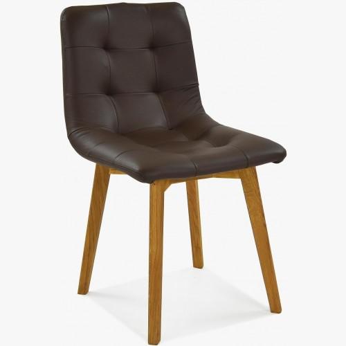 Dubová židle Kožená tmavohnědá, Leonardo