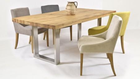 Dubový stůl a židle z pravé kůže