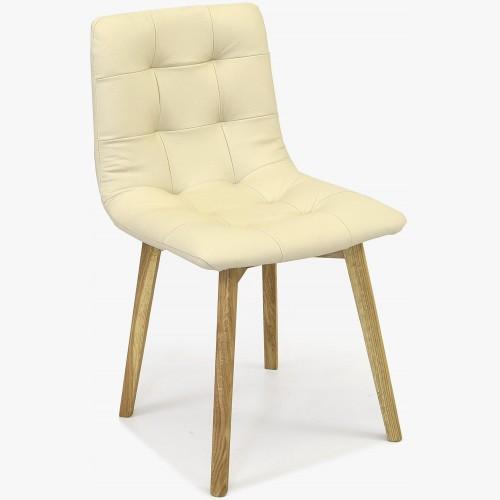 Dubová židle Kožená krémová, Leonardo