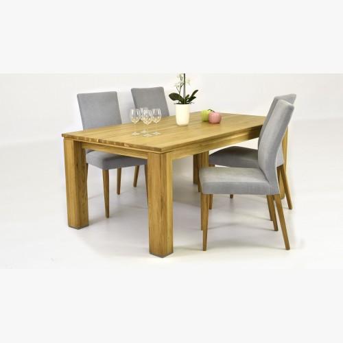 Šedá židle Madrid a stul ze dřeva dub masiv