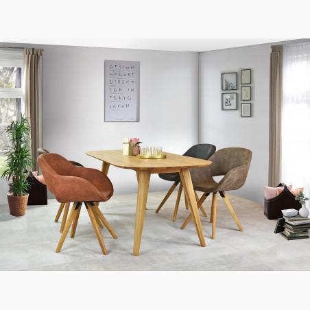 Dřevěný stůl dub a židle látkové