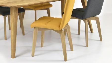 Dubová židle kožená - hnedá