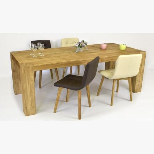 Masivní stůl 220 x 100 a židle kožené