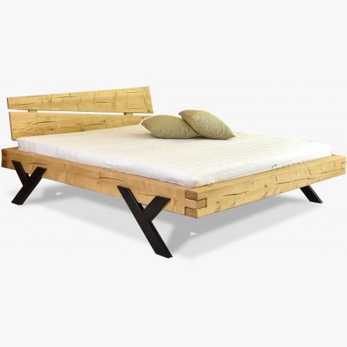 Designová postel z trámů, ocelové nohy ve tvaru Y, 160 nebo 180 cm smrk