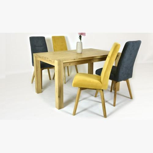 Dubový stůl a žluté, šedé židle
