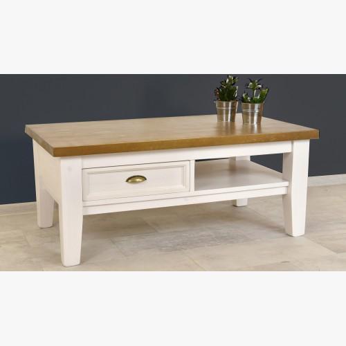 Dřevěný konferenční stolek bílo - hnědý Provence