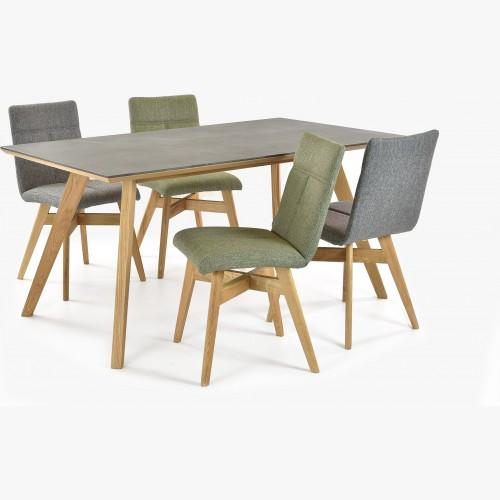 Jídelní stůl dekton Golem + židle dub Alina