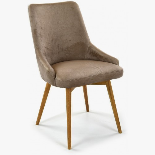 Jídelní židle sametová Laura, barva kapučíno - Water repellent