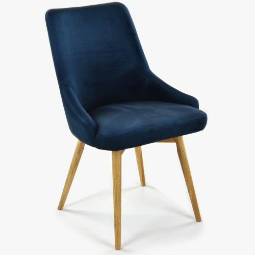 Jídelní židle sametová Laura, barva tmavě modra - Water repellent