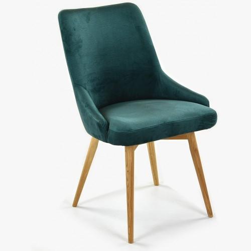 Jídelní židle sametová Laura, barva zelená - Water repellent