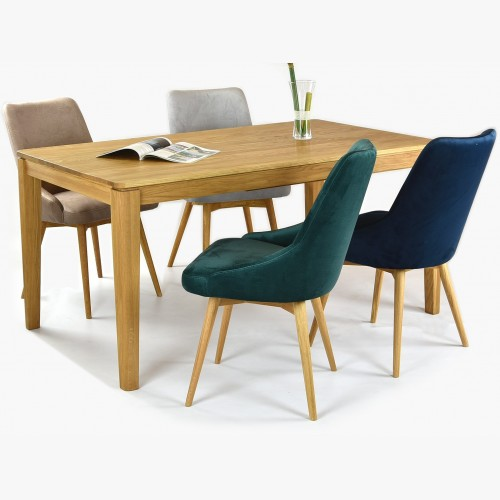 Sametové židle Laura včetně stolu masiv dub Houston