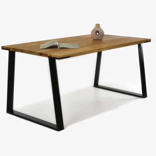 Stůl z masivu - černé ocelové nohy dub, LOFT