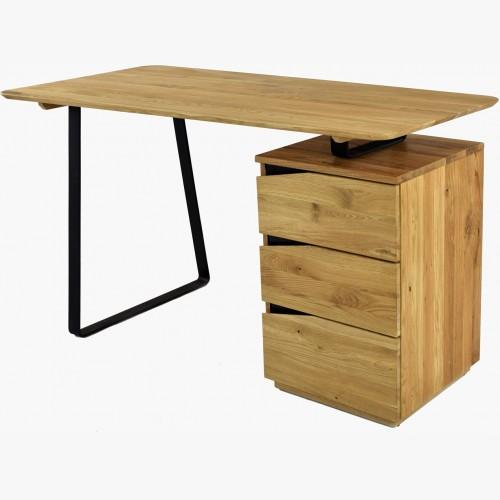 Dubový pracovní stůl, z černými kovovými nohami, Smak