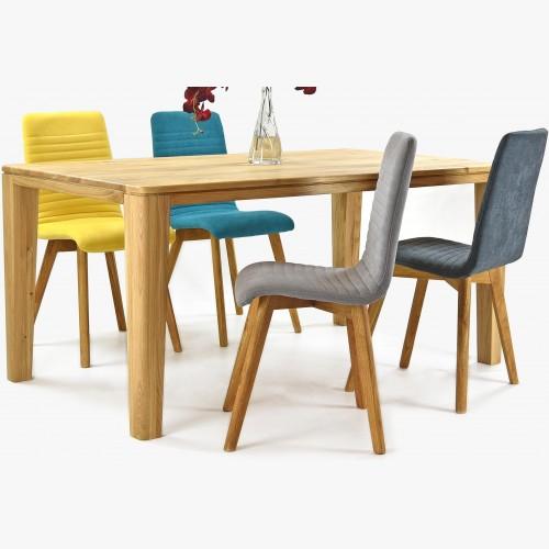 Čalouněné židle Arosa dubové nohy a jídelní stůl dub York