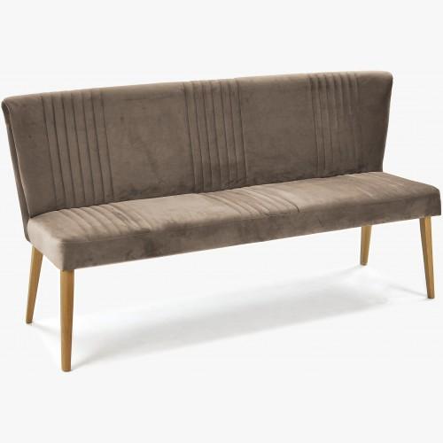Čalouněná lavice barva hneda, dubové nohy Ján
