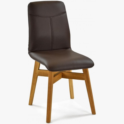 Kožená jídelní židle tmavohnědá - nohy dub, YORK