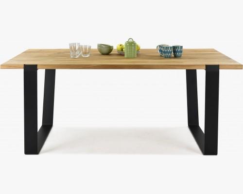 Luxusní masivní stůl z trámů, černé nohy , MEDVED 180