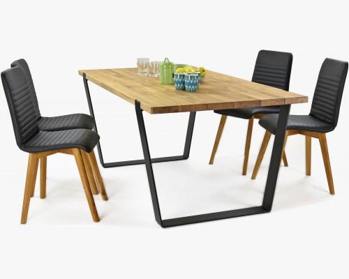 Jídelní set industriální styl, stůl masiv Medved a židle kůže Arosa