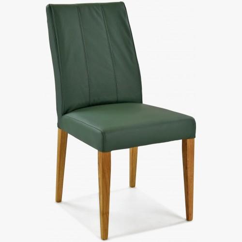 Židle pravá kůže - zelená barva Klaudia