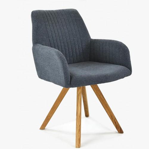 Židle s područkami tmavomodrá - nohy dub Paris