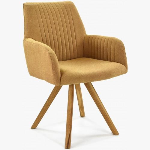 Židle s područkami hořčicová - nohy dub Paris