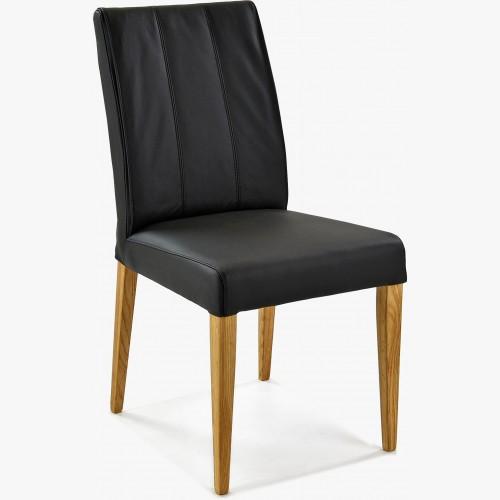 Židle pravá kůže - černá barva Klaudia