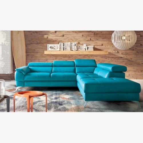 Rohová sedačka kožená s uložným prostorem a funkcí spaní, Catania