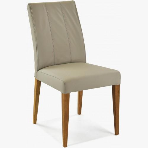 Jídelní židle pravá kůže, šedá světla, Klaudia