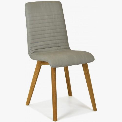 Židle Lara - Arosa , Ecru imitace kůže šedá