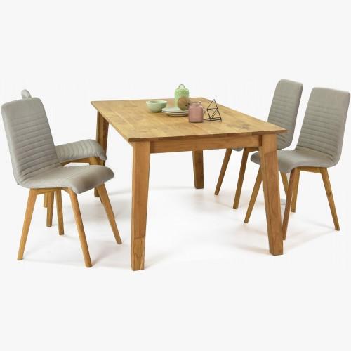 Dřevěný jídelní stůl Mirek dub a židle Arosa šedé barvy