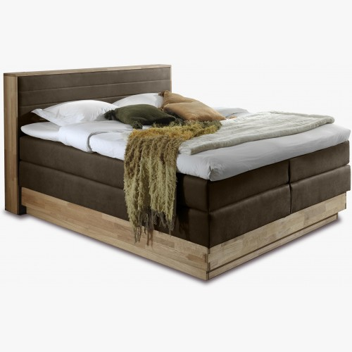 Dubová postel boxspring s úložným prostorem včetně matrací, Moneta 180