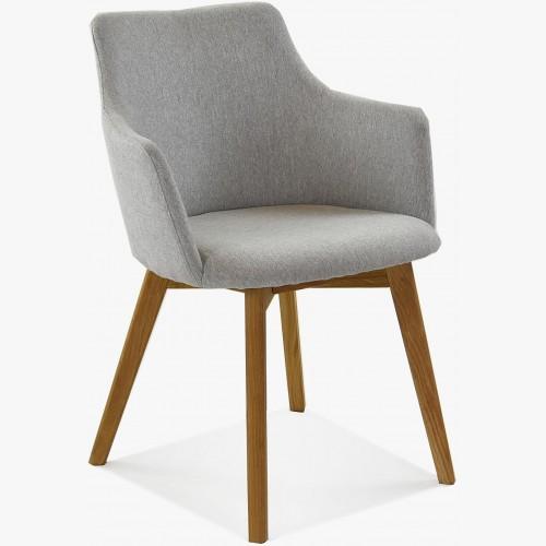 Židle s područkami - Bella, šeda easy clean