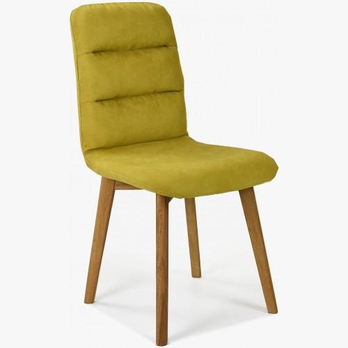 Pohodlná židle, žlutá látka - dubové nohy Orlando