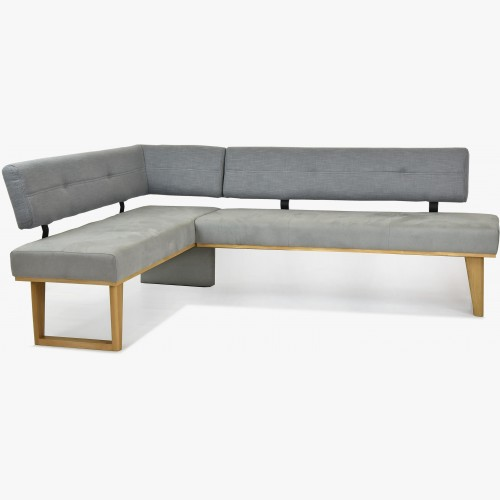 Rohová lavice látková - šedá - nohy dubové Colmar, levá