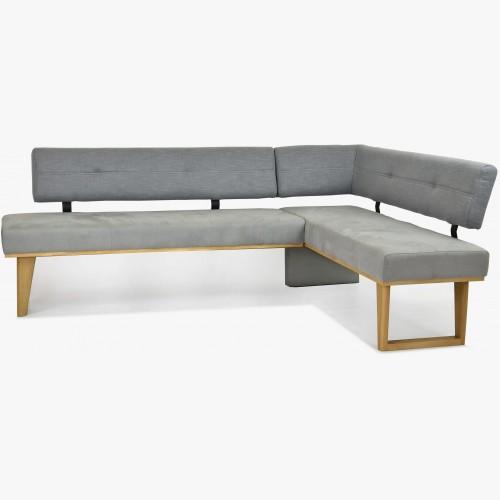 Rohová lavice látková - šedá - nohy dubové Colmar, pravá