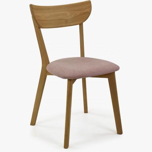 Moderní židle dub Eva, růžový sedák