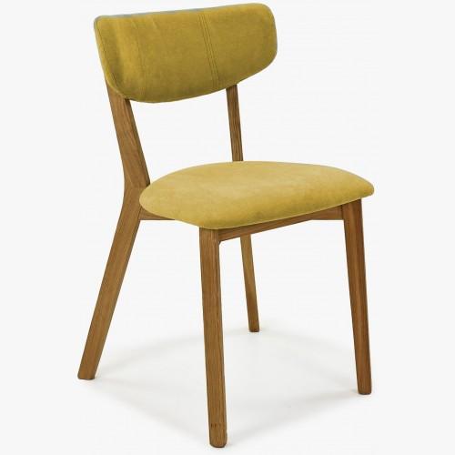 Látková židle - nohy dub, Amisa žlutá