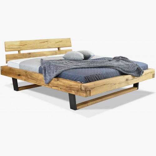 Moderní postel z masívu dub - kovové nohy, Laura