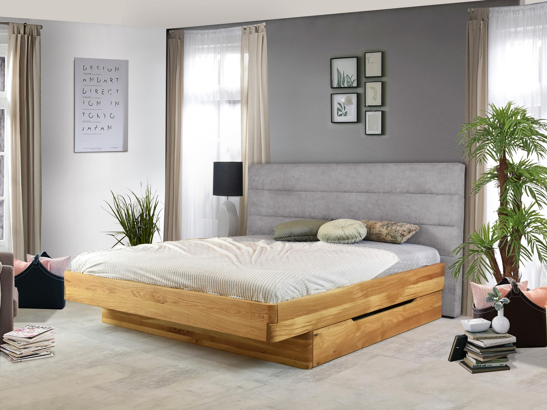 Dubová postel, látkové čelo včetně šuplíků, Dominika