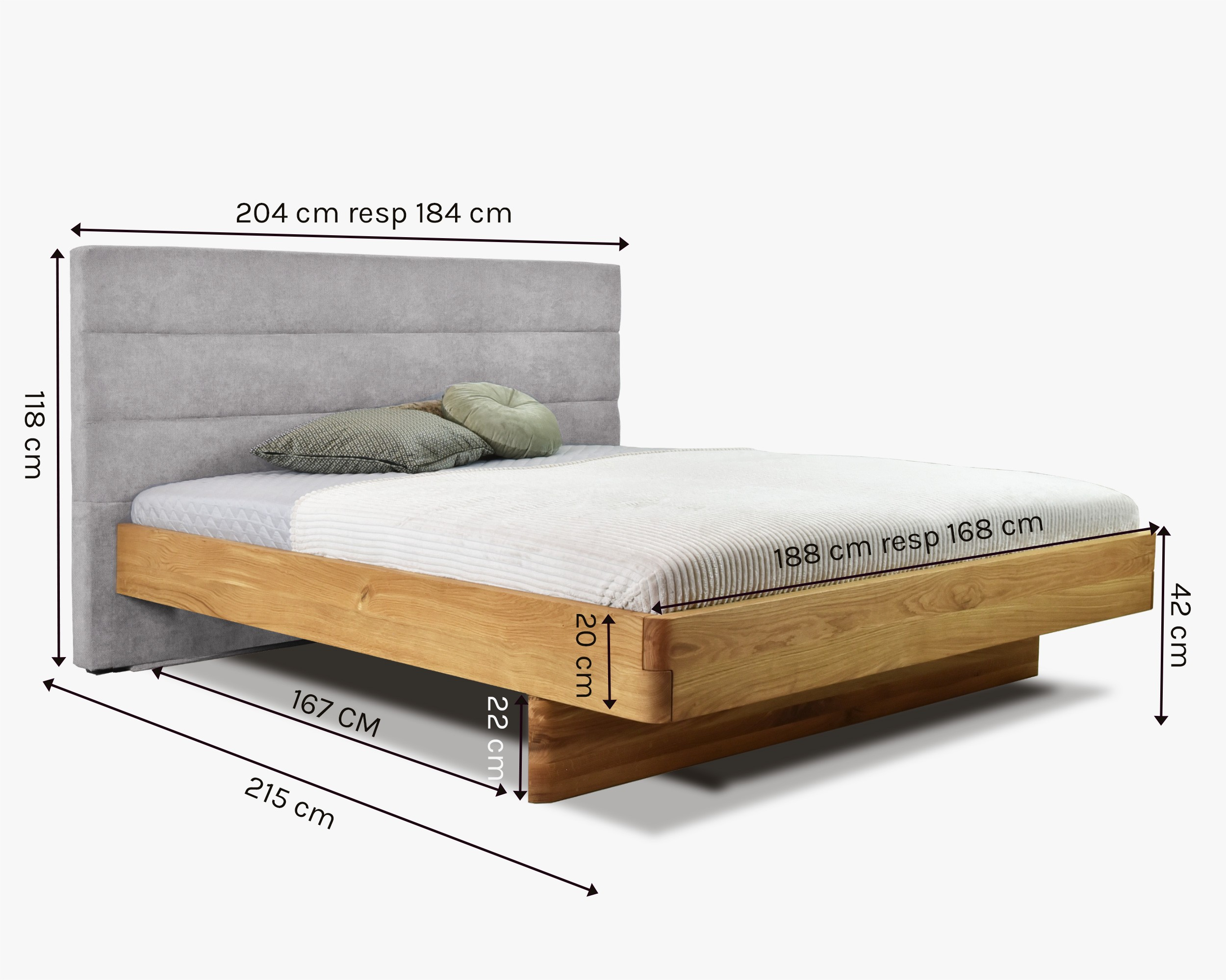 postel z masívu dub manželska